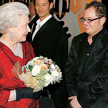 Alan Carr with Her Maj